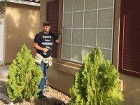 Jim Barilla installs a solar screen